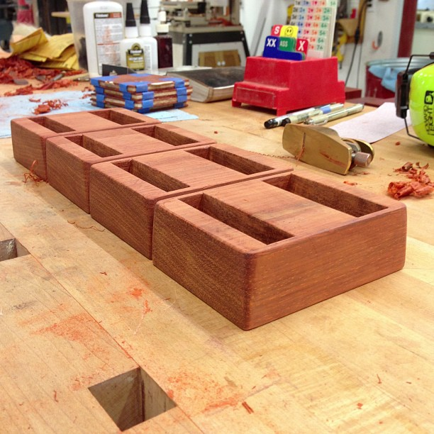 Bidding card blocks, shaped, sanded, filed, and ready for finish.
