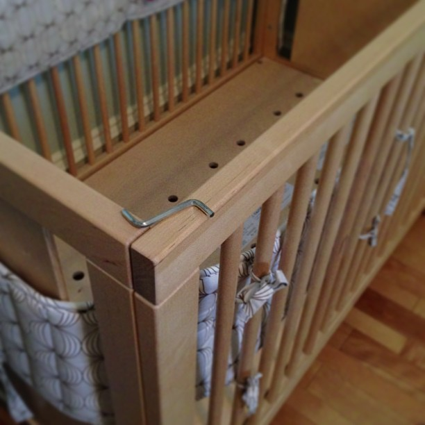 """I design and build furniture for a living. I have nearly 4,000 hours of training in my chosen field. I'd like to think that I am at least halfway competent at putting things together, but assembling this fancy crib with the """"provided tool"""" just about broke my spirit altogether. #MadeInLatvia"""
