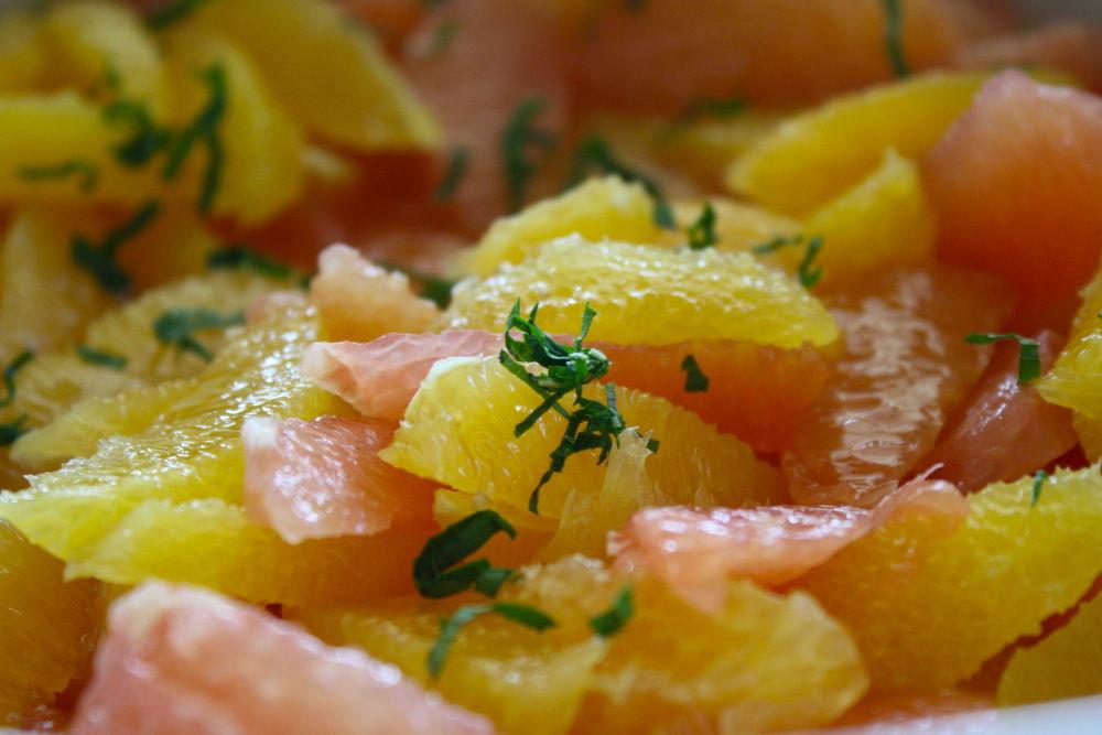mint, grapefruit and orange salad
