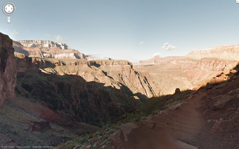 A screen grab from Google Maps in the Grand Canyon