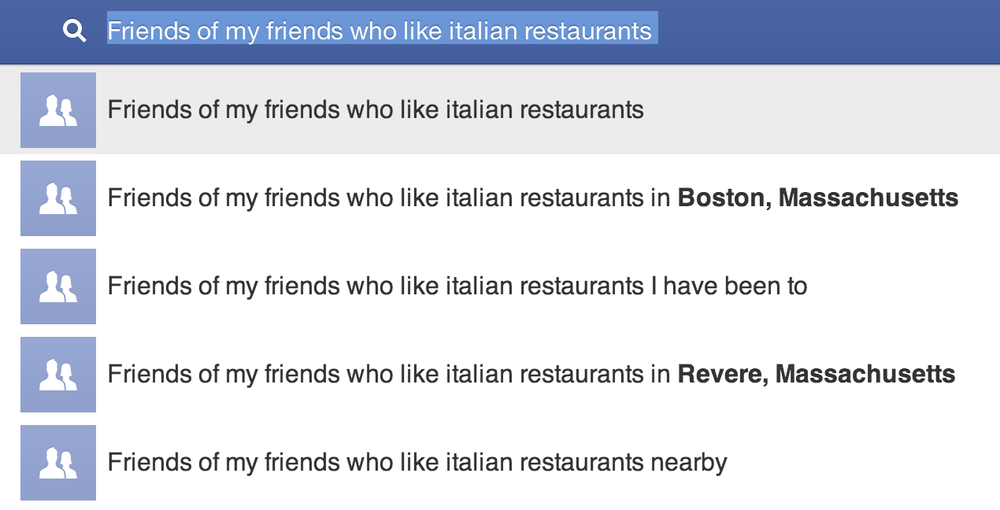 Friends of my friends who like Italian restaraunts