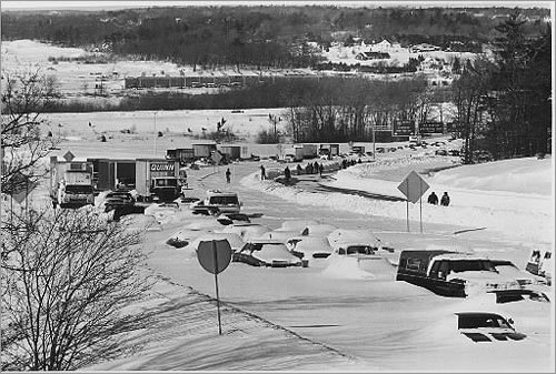 The Blizzard of 1978 left cars littered on the highways