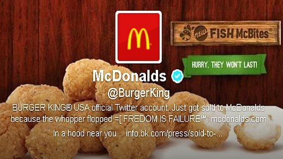 Burger King was taken over by McDonald's...well, at least on Twitter