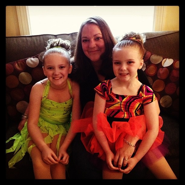 My wife, aka super mom, and my two tiny dancers before their recital