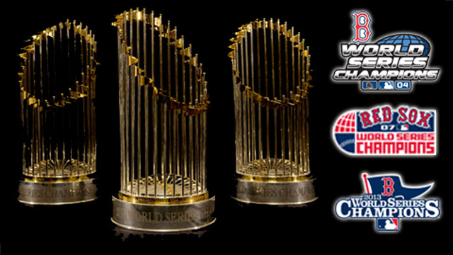 Red Sox 2004, 2007 and 2013 World Series Trophies