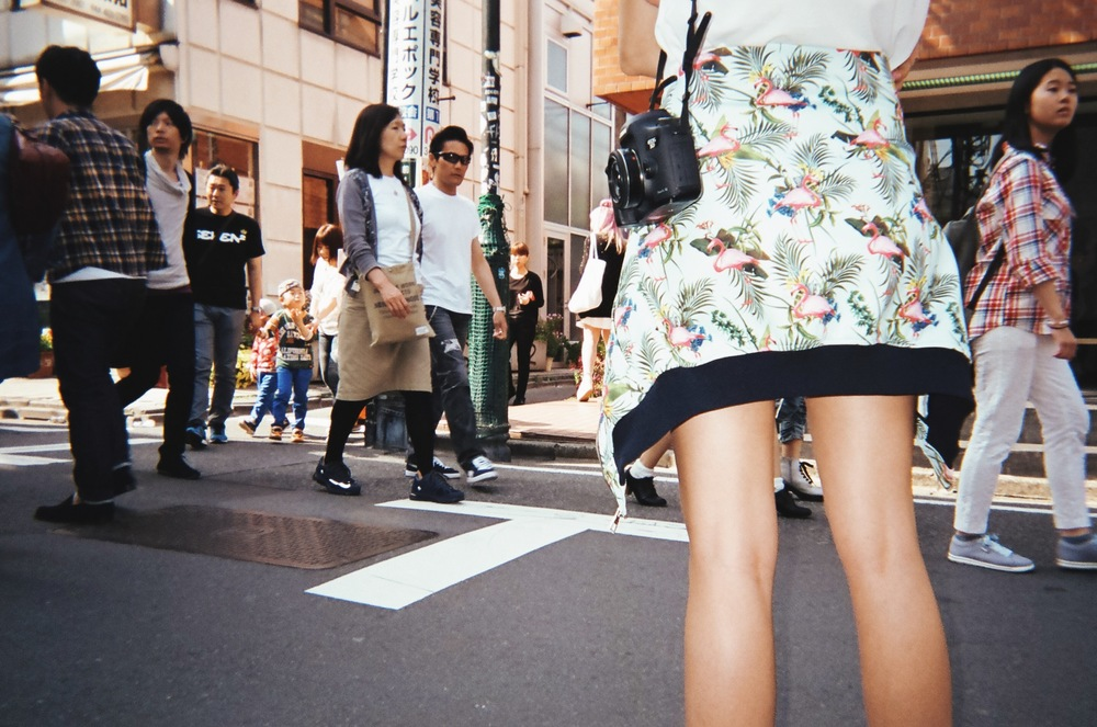 Ania B hunting for street style in Harajuku