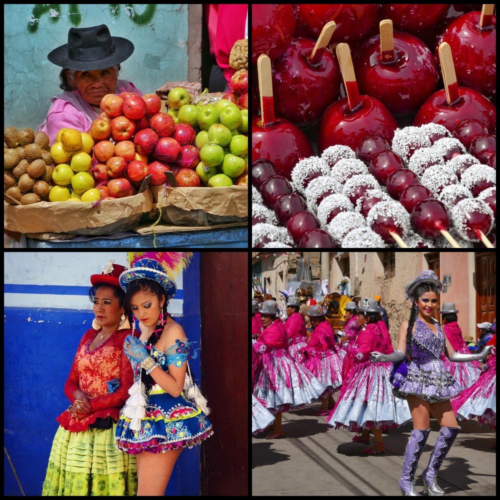 Potosi Apple Vendor + Ch'utillos Fiesta Snacks + Chu'tillos Mother/Daughter + Ch'utillos Dancers