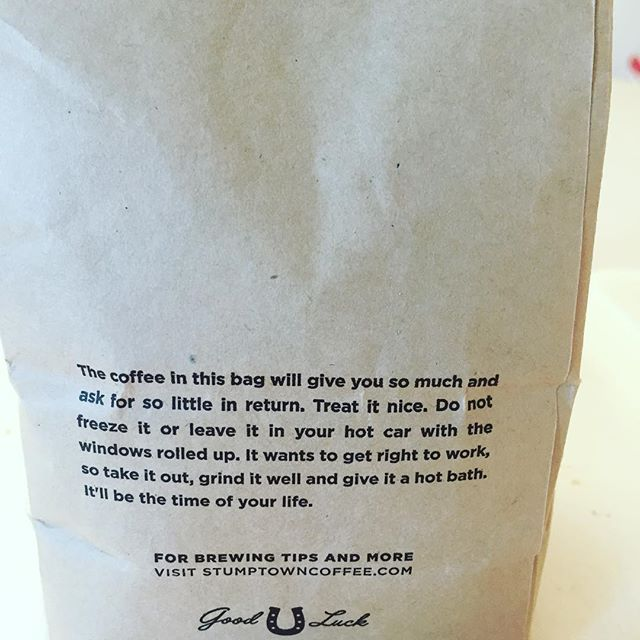 We love the use of this clever copy on @stumptowncoffee packaging. Fantastic example of knowing your audience and what THEY are receptive to. #goodcopy