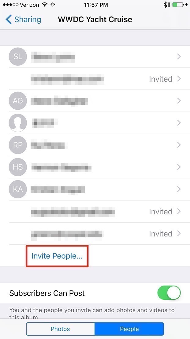 4. Tap  Invite People