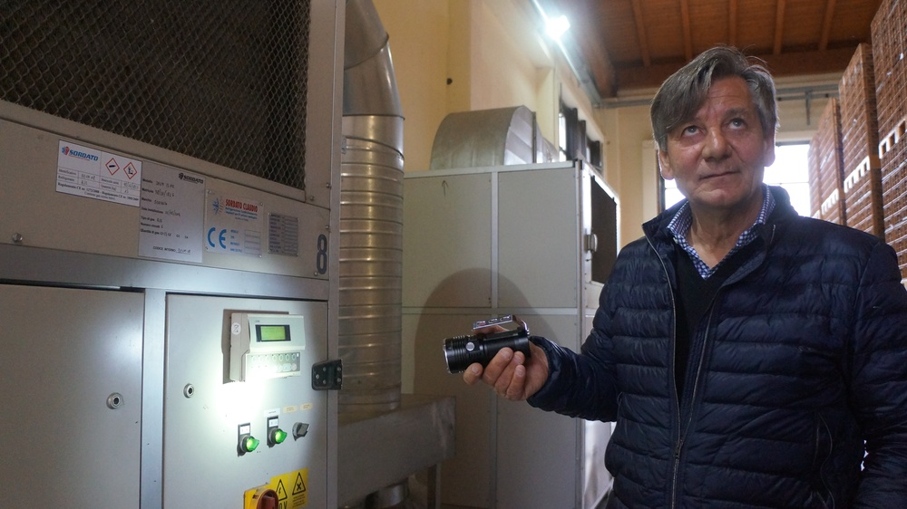 Franco Allegrini shows a de-humidifier in the plant
