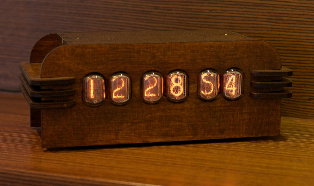 A Nixie clock powered by the HV PSU described here (the case is made of laser-cut plywood).