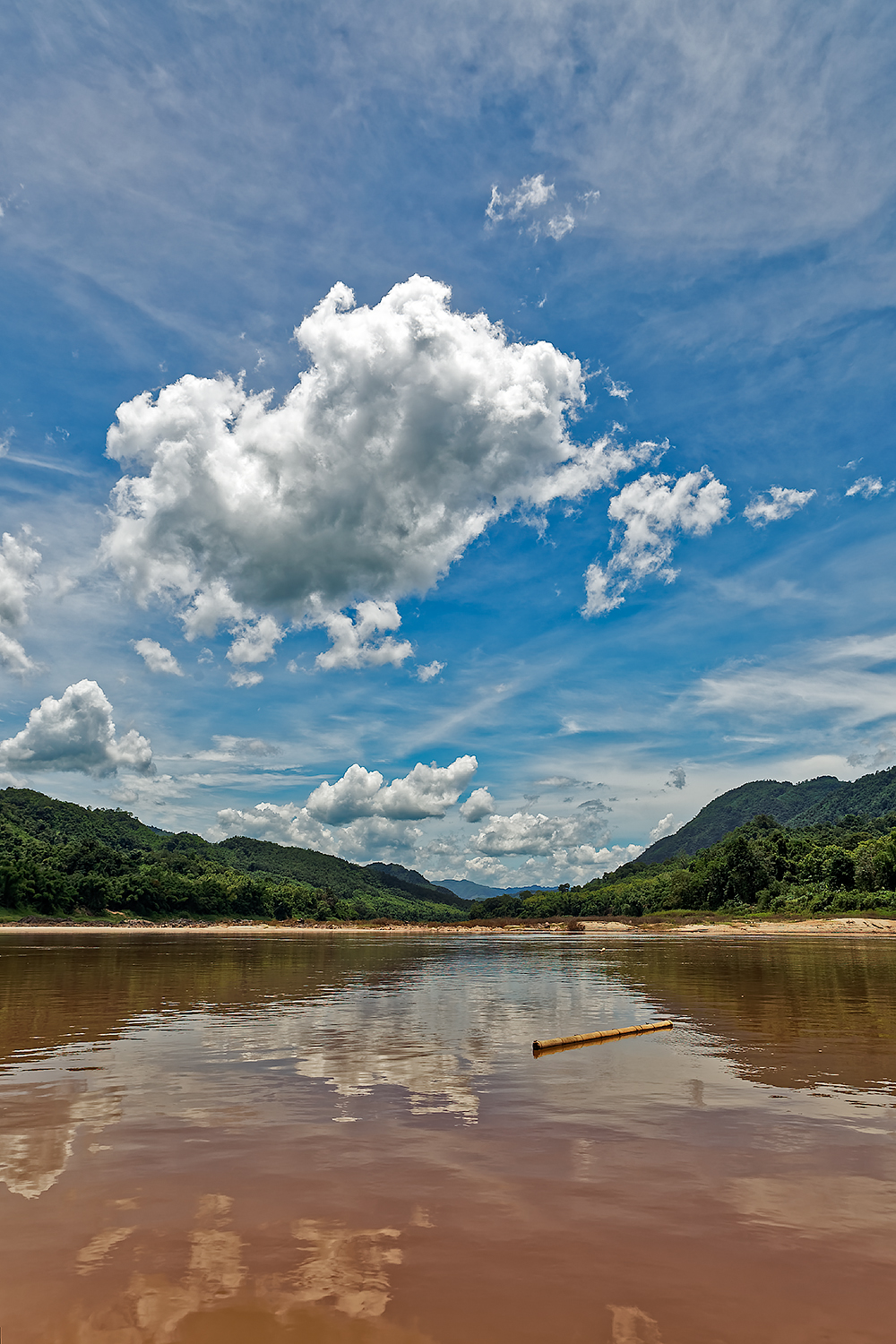 Traveling by boat up the Mekong River