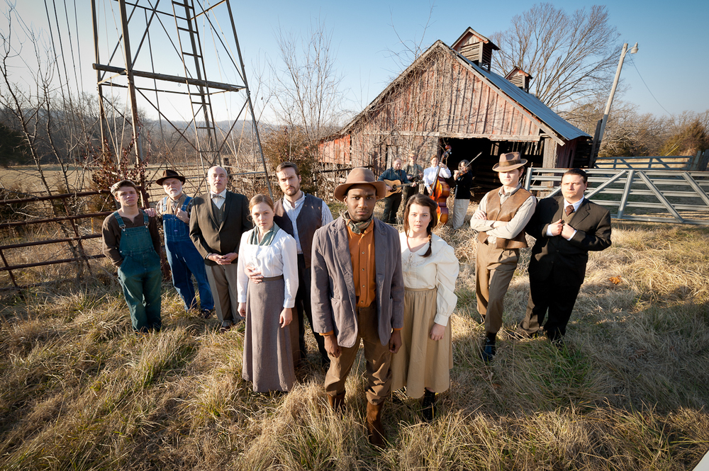 Marketing photo-shoot for Sundown Town by Kevin D. Cohea. Photographing 13  costumed cast-members in a rural Arkansas field was an opportunity I couldn't pass up.