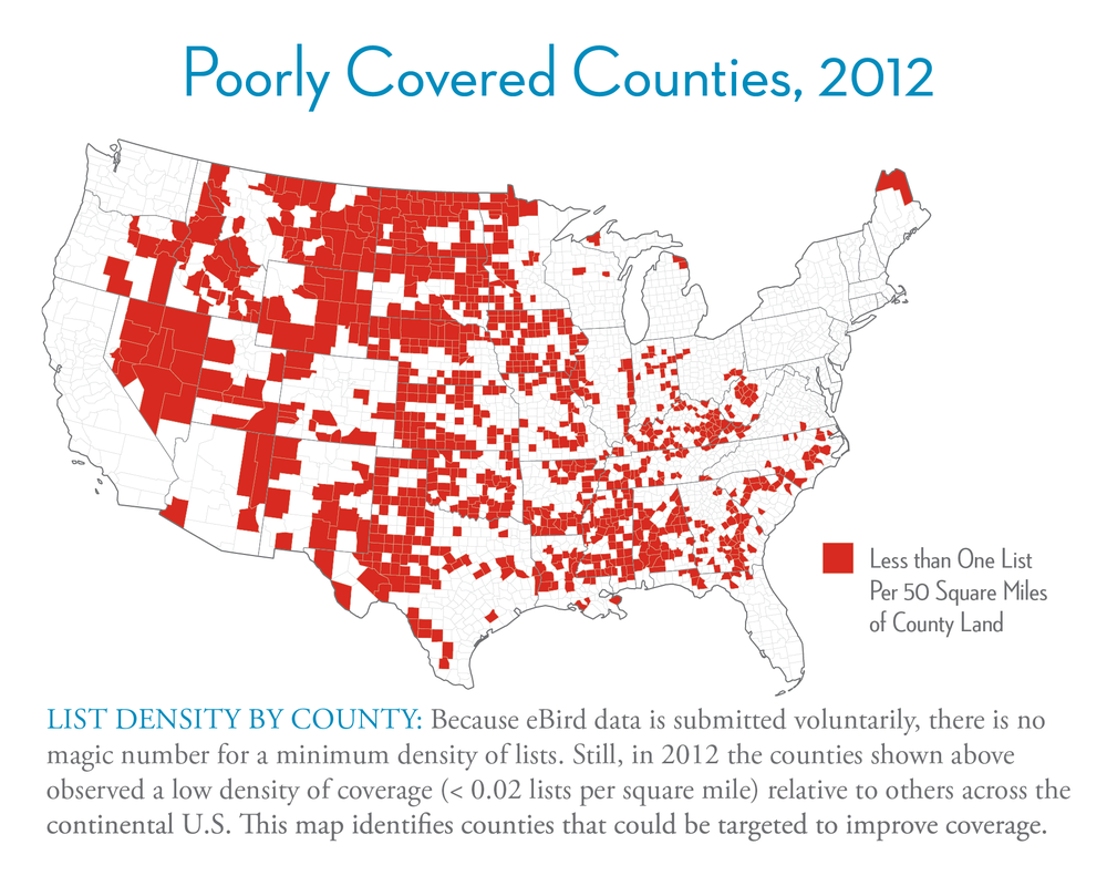 Close-up on county coverage map from the eBird poster