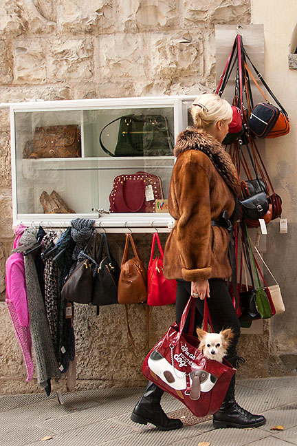 A stylish shopper and her dog in Radda.