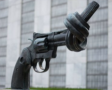 A knotted gun barrel at the United Nations Headquarters in NYC.