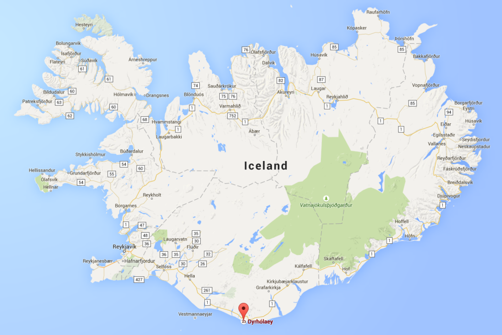 Dyrhólaey is located in the southern part of Iceland.