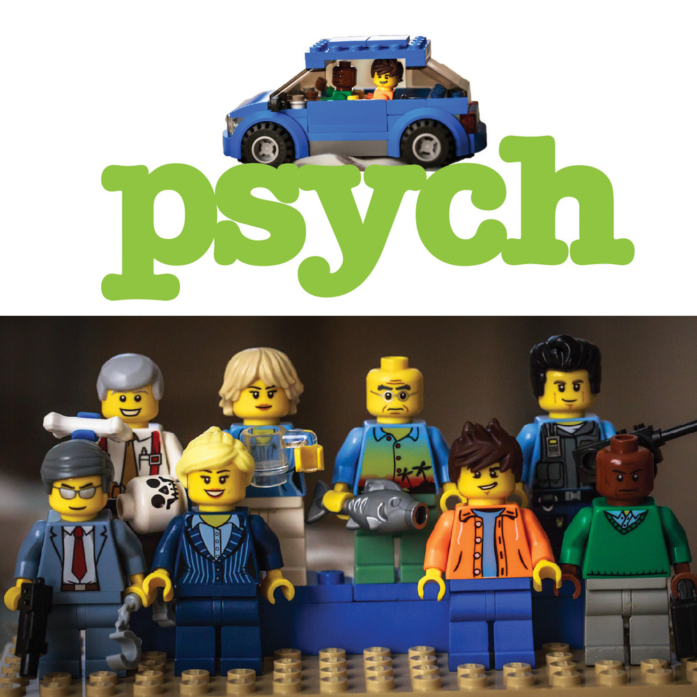 "Psych Lego cast: (top left to right) Woody, Chief Karen Vick, Henry, Buzz; (front left to right) Lassie, Juliet, Shawn, Gus T.T. Showbiz - the extra ""T"" is for extra talent."