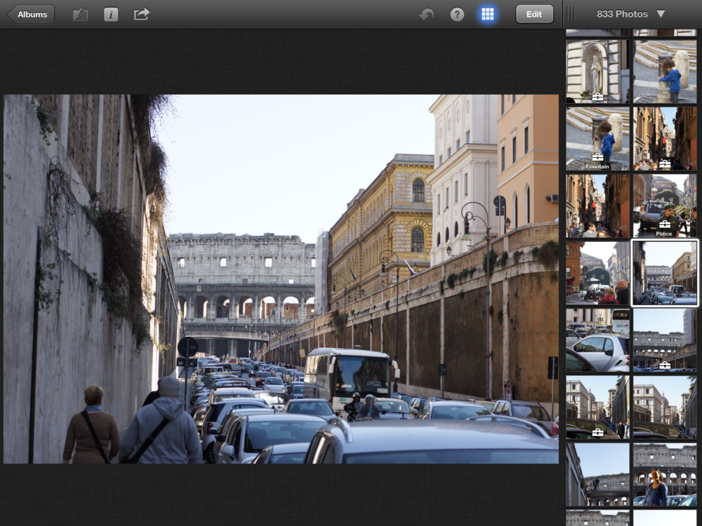 iPhoto's Interface on the iPad