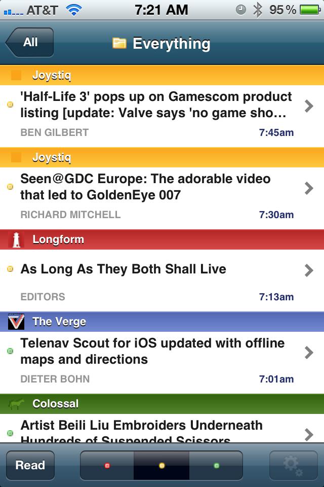 NewsBlur's Feed Screen