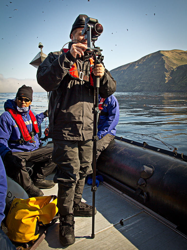 Shooting a 360˚ panorama from a zodiac off the coast of Chirpoy Island in the Russian Far East