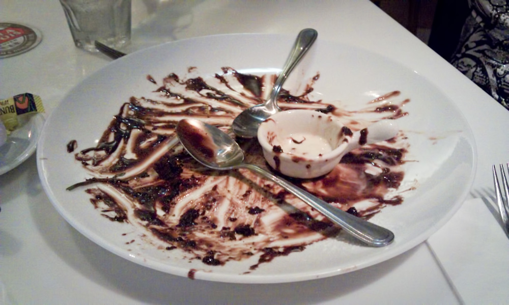 The remains of a great Chocolate Hazelnut Pudding