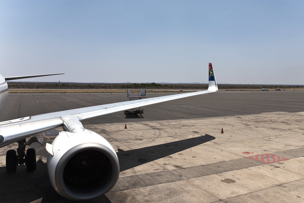 Boarding the flight at Windhoek Airport