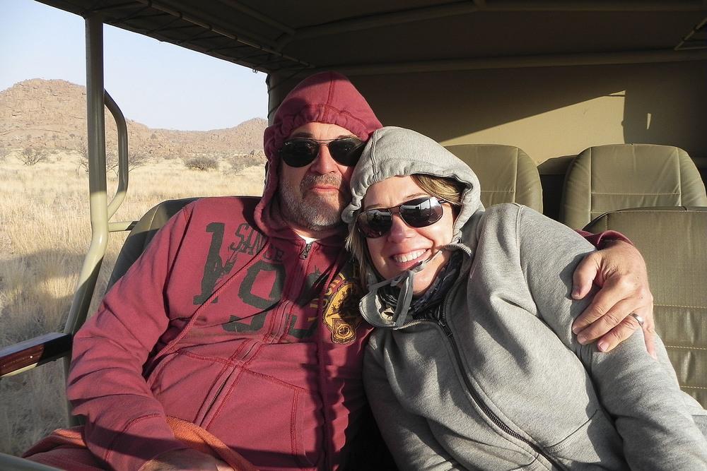 Tony & Kelly trying to keep warm