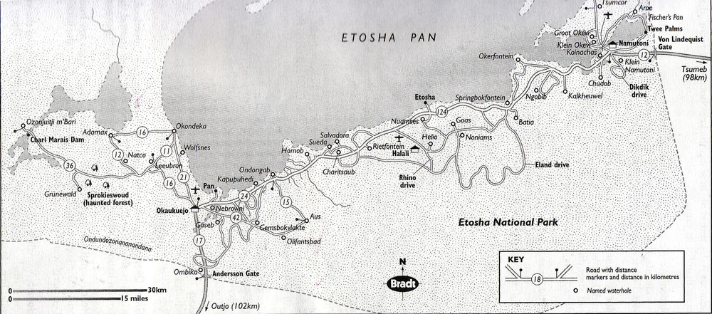 Map of Etosha National Park showing our intended route