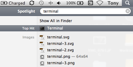 Search for Terminal in Spotligh