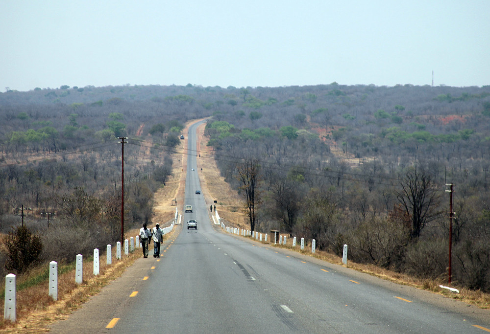 The road into Zimbabwe