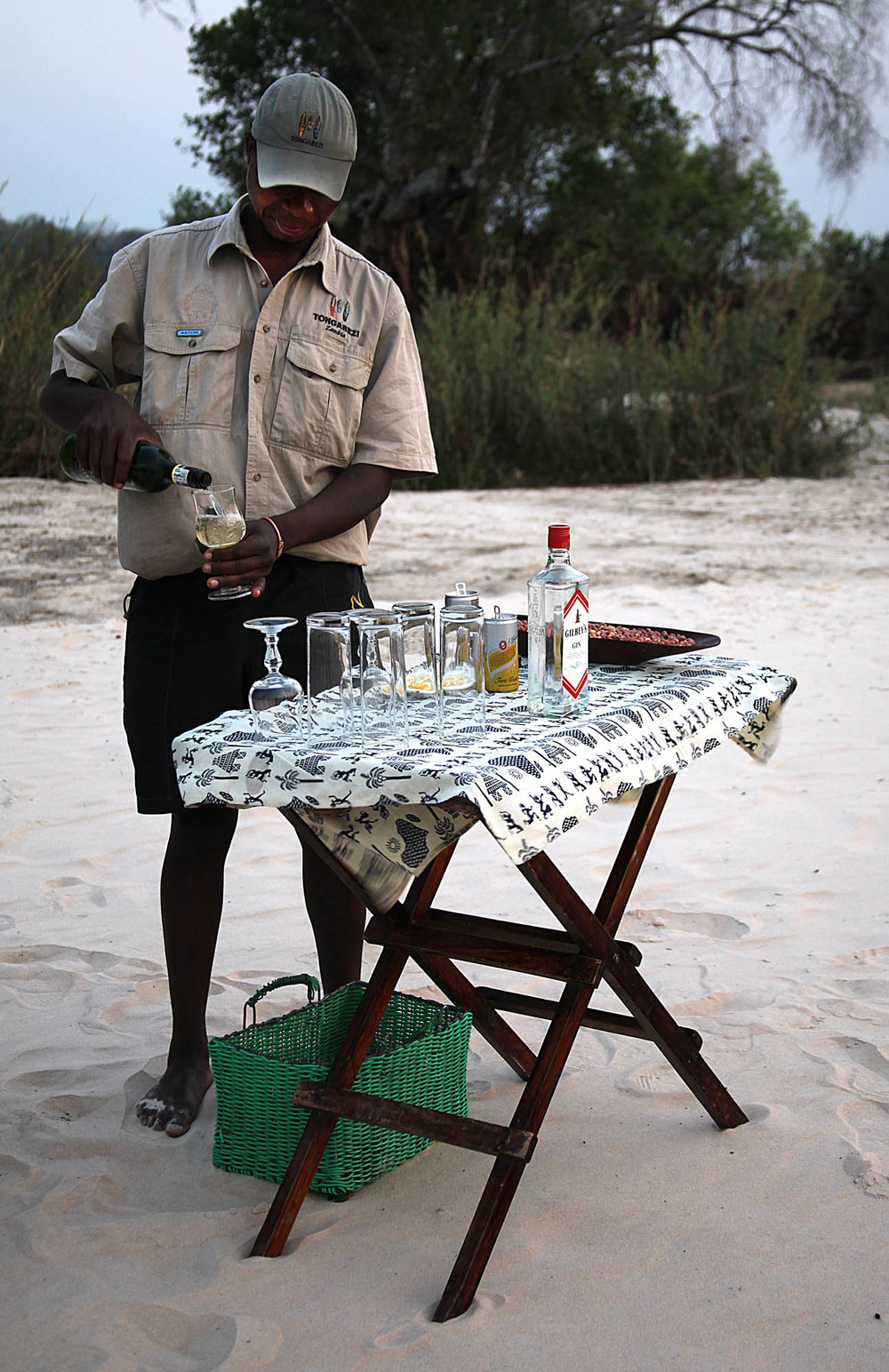 "Sundowners being served on ""No Man's Island"""