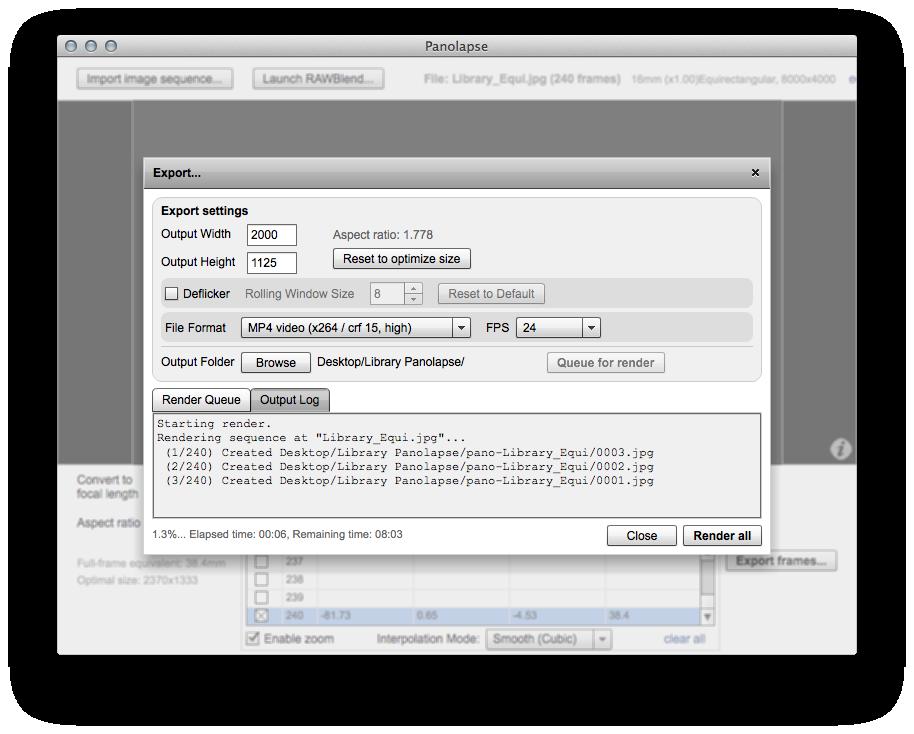 Panolapse rendering each frame