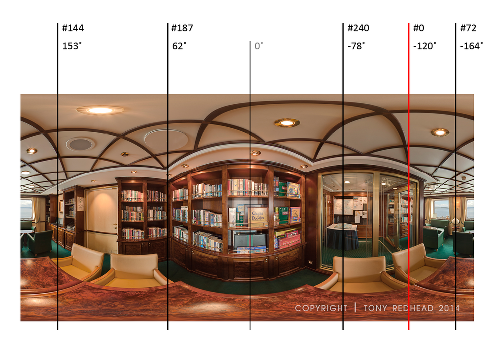 Equirectangular image with key frames and their angle values [tap to view larger]