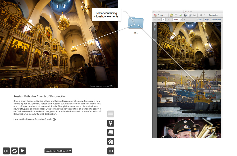 In-page slideshows using a single multi-page PDF file  [tap to view larger image]
