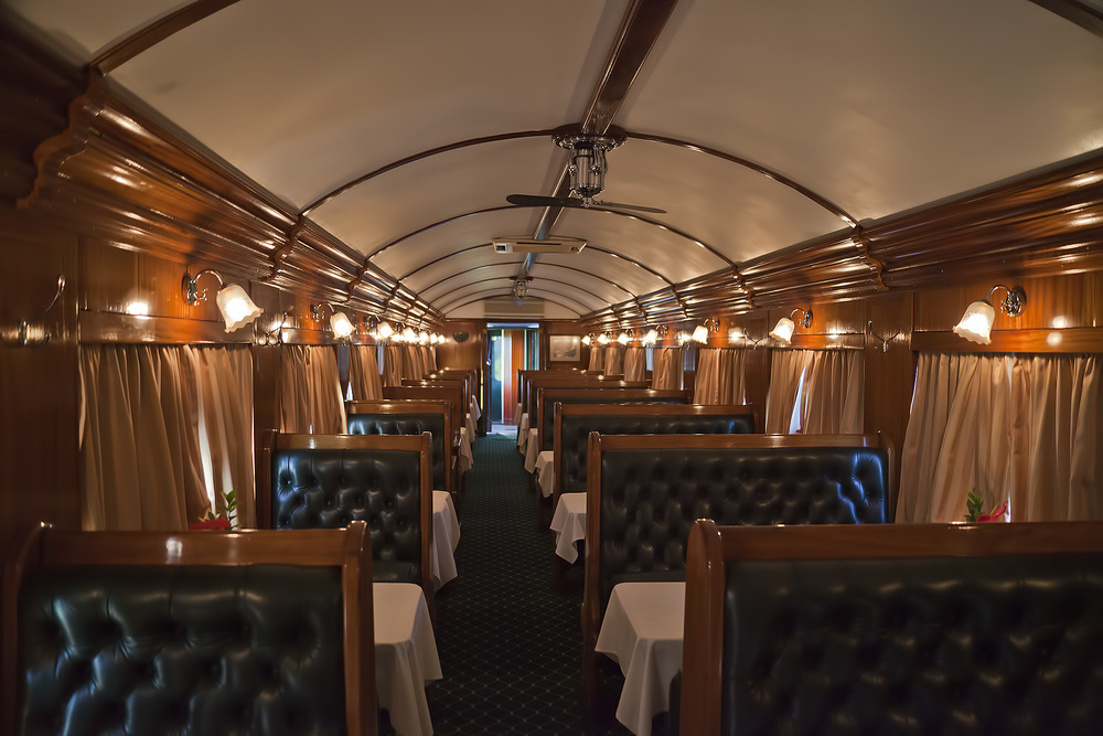 One of the two dining cars
