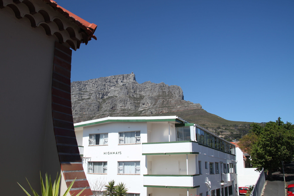 View of Table Mountain from our balcony at Derwent House