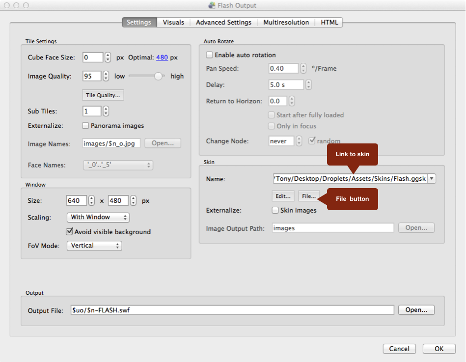 #3 Flash Output Settings Window