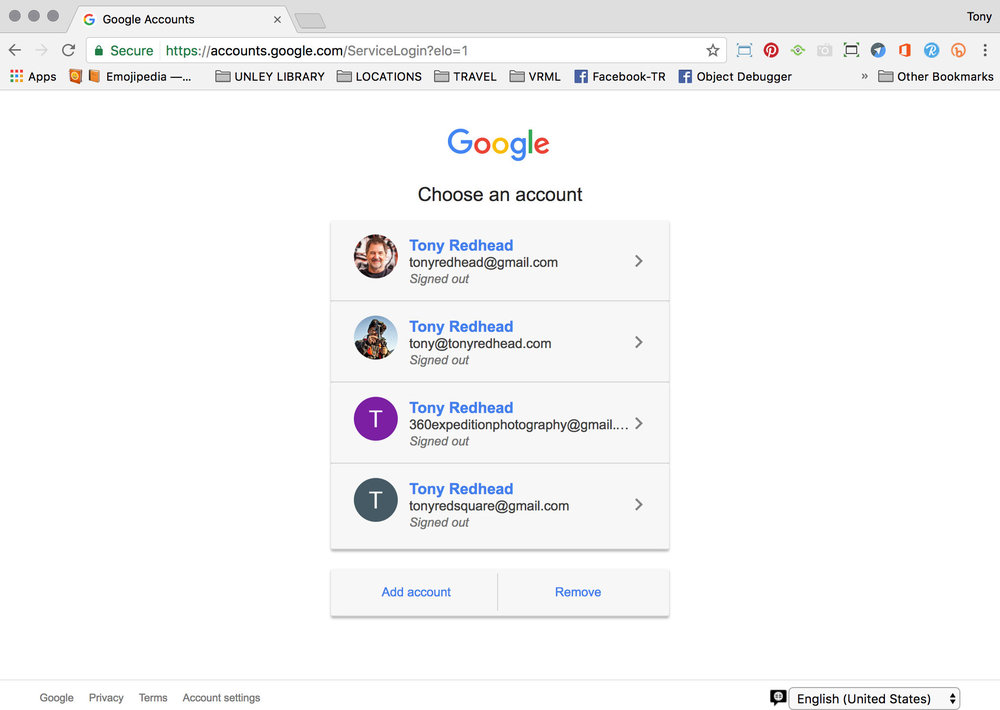 Google page showing all accounts are Signed Out