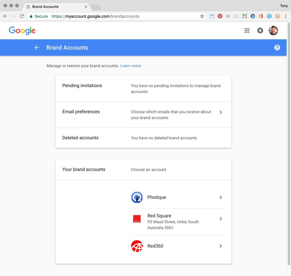 Google Brand Accounts page