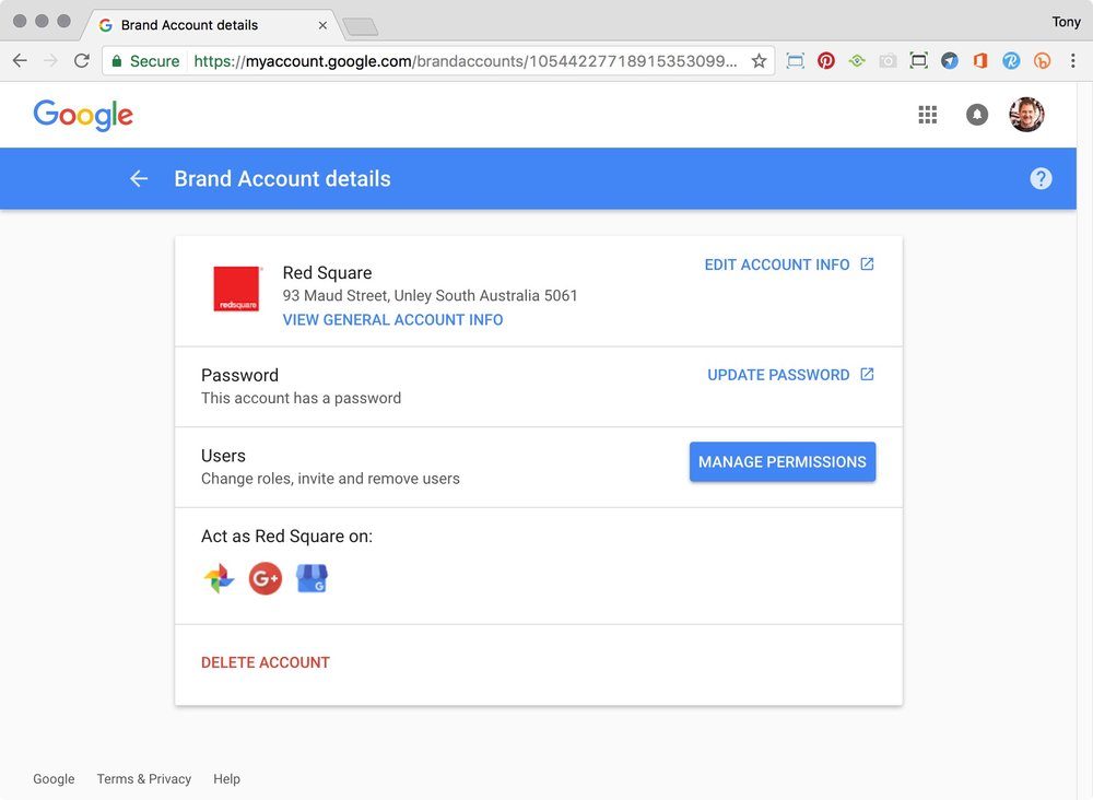 Google Brand Account details