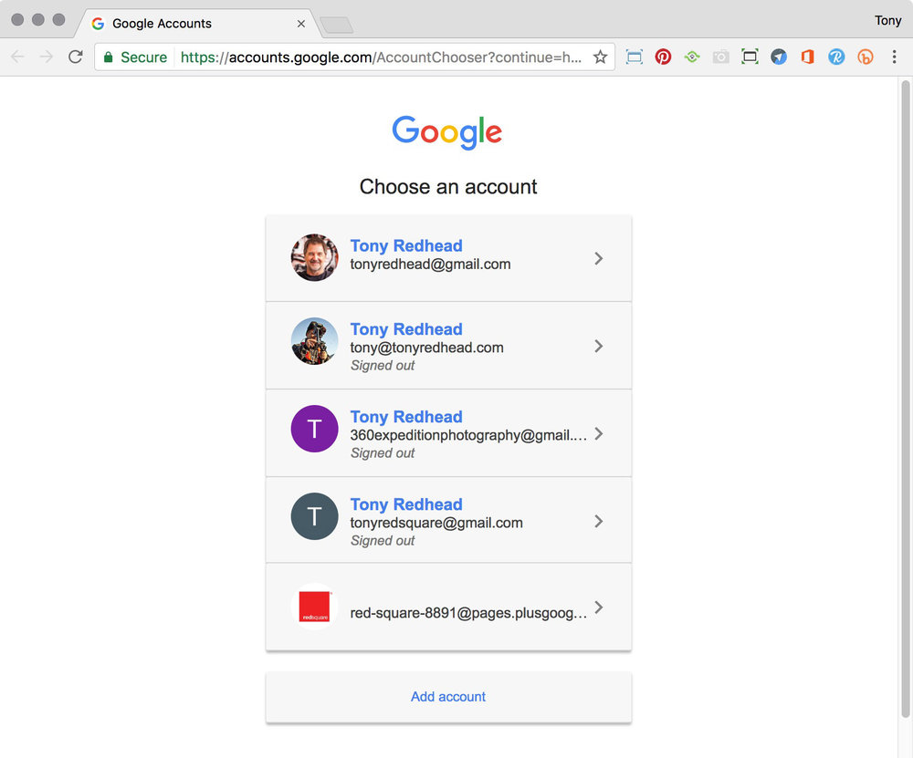 Google Accounts page