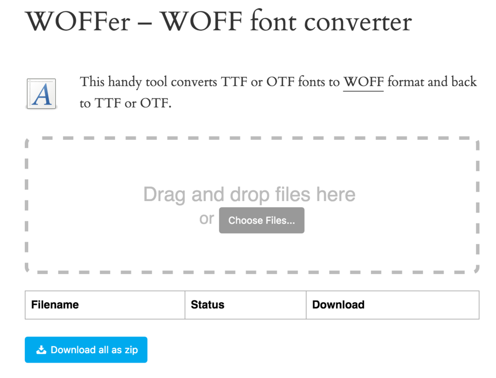 WOFFer web page and Drag and drop window