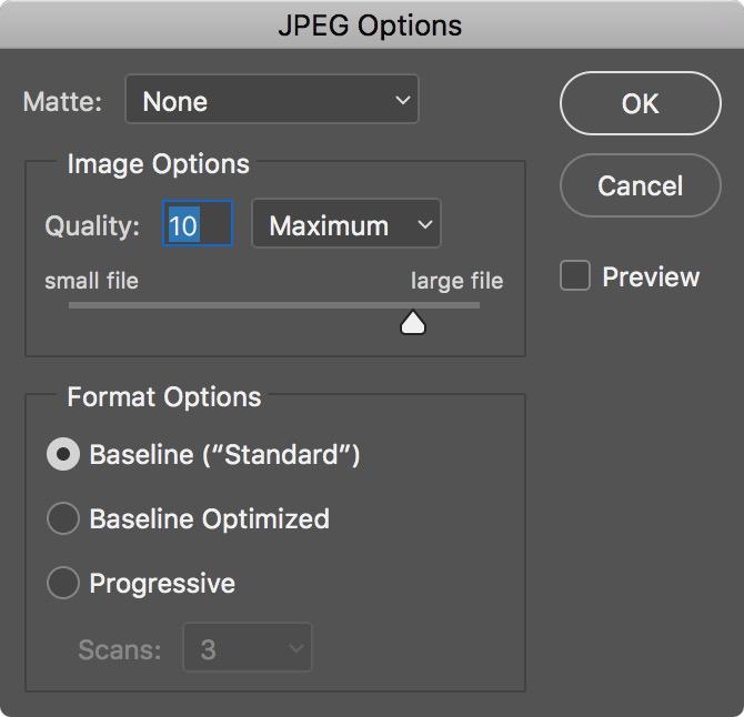 Figure #5 - JPEG Options