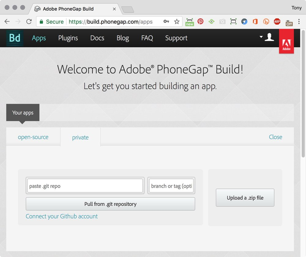 figure #5: Welcome to Adobe PhoneGap Build page
