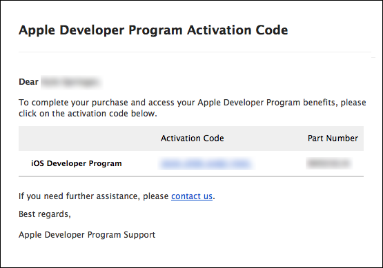 figure #20: Activation Code