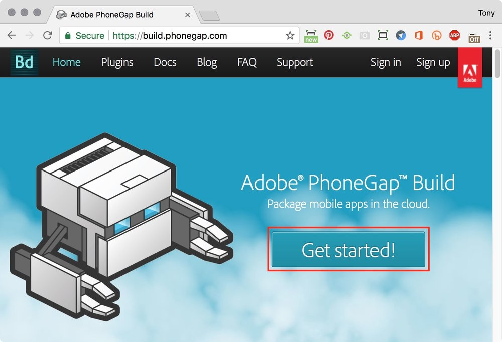 figure #1: PhoneGap Build homepage