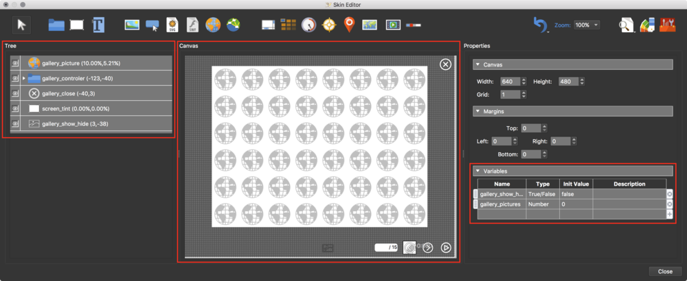 figure #17: Gallery Simplex component open in Skin Editor