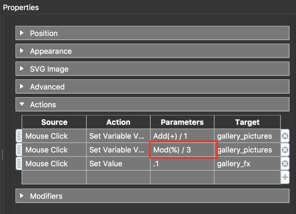 figure #8: New Variable Value for 'gallery_forward'