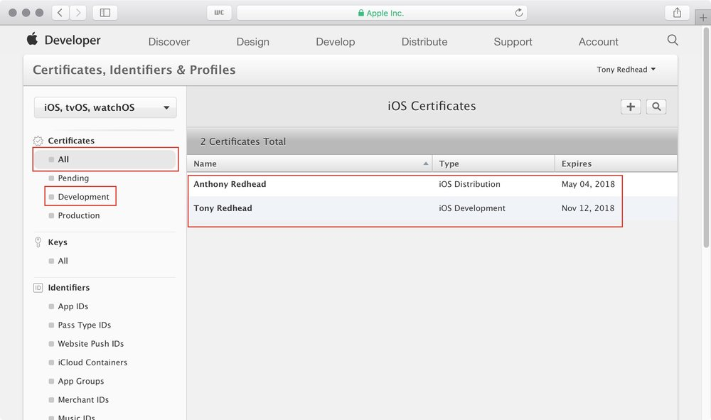 figure #4: iOS Certificates